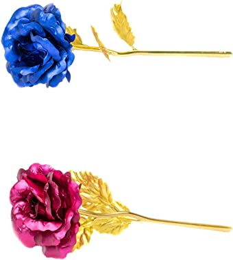 MSA Jewels Valentine Gift Blue + Pink Gold Rose 25 cm with Beautiful Gold Velvet Box