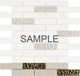 Modket TDH157MO-S Sample Beige Cream Crema Marfil Marble Stone Mosaic Tile, Gold Glass Inserted Blend Brick Joint Pattern Backsplash