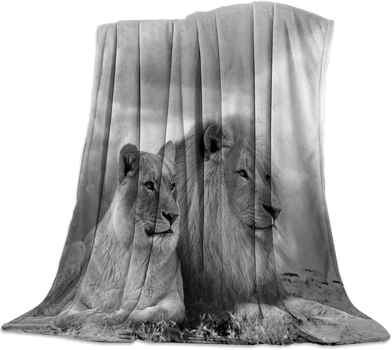 YEHO Art Gallery 49x59 Inch Flannel Fleece Bed Blanket Soft ThrowBlankets for Girls Boys,Retro 3D Lions Animal Pattern,Cozy Lightweight Blankets for Bedroom Living Room Sofa Couch