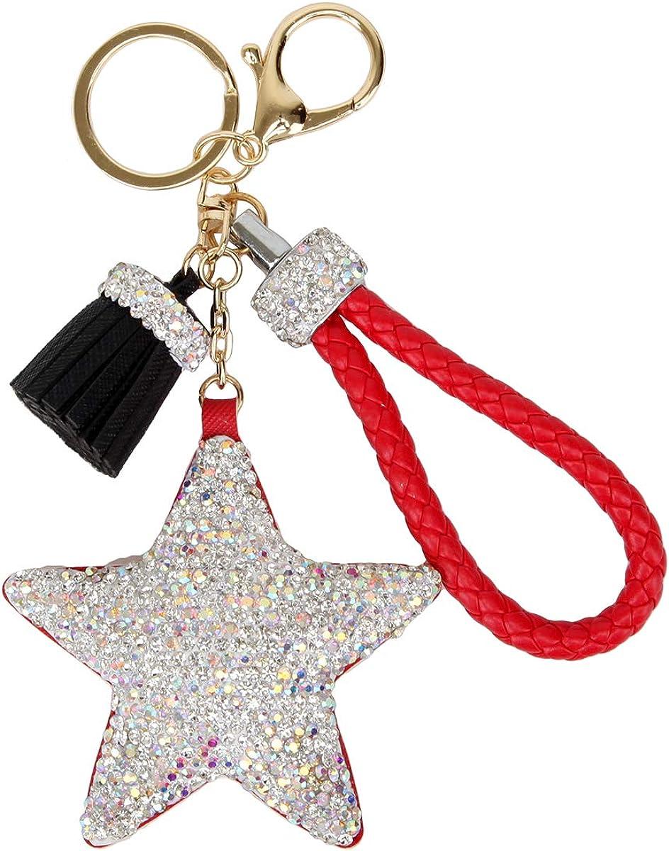 Fawziya Glittery Keychains Crystal Tassel Star Keychain