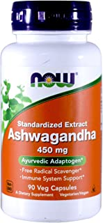 NOW Foods Ashwagandha Extract 450mg, 90 VCaps (Pack of 2)