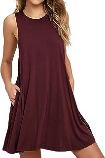 Unbranded Women's Sleeveless Pocket Casual Loose T-Shirt Dress
