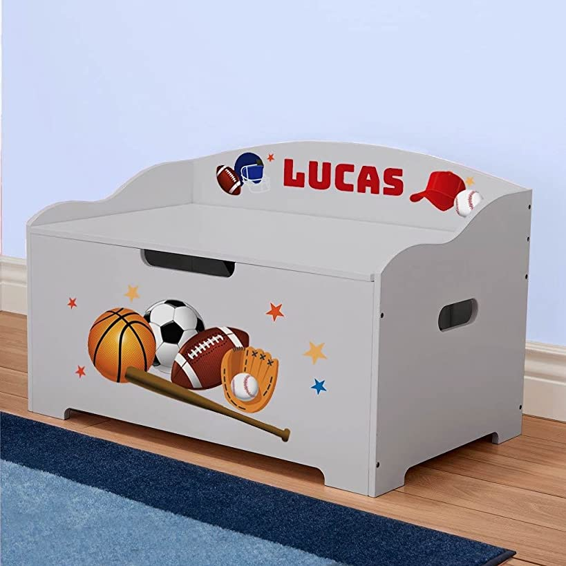 DIBSIES Personalization Station Modern Expressions Toy Box (Gray with Sports Theme)