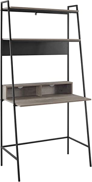36 Inch Metal And Wood Ladder Desk In Grey Wash
