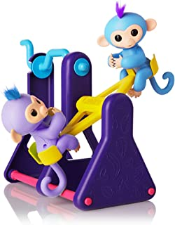"""WowWee Fingerlings Playset – See-Saw with 2 Baby Monkey Toys, """"Willy"""" (Blue) and """"Milly"""" (Purple)"""