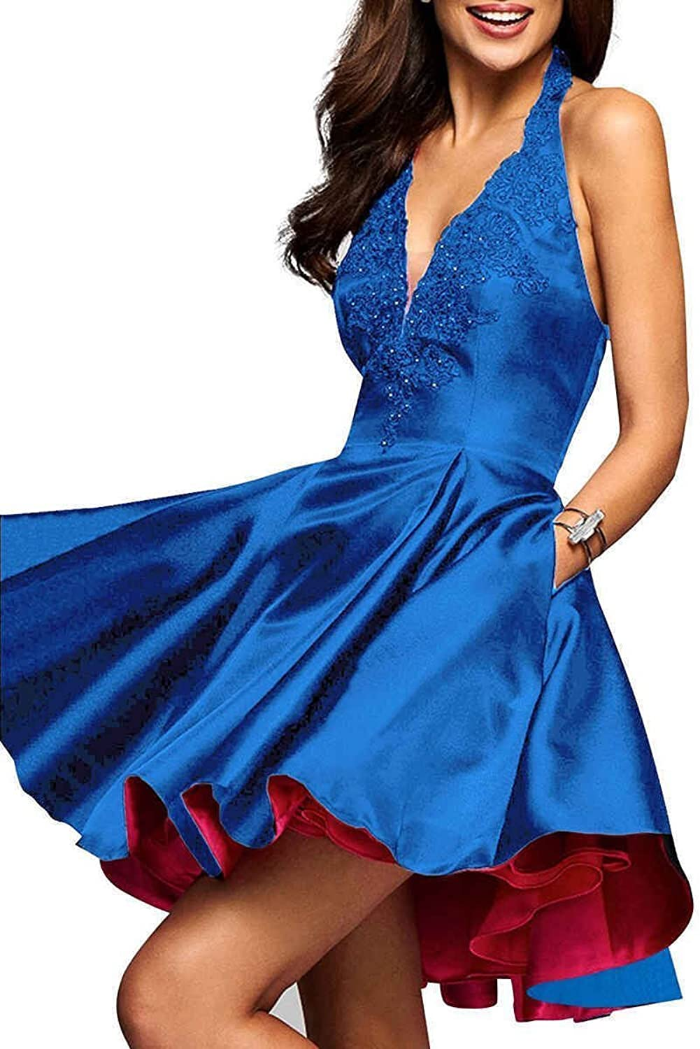 JQLD Women's A Line Satin Formal Party Prom Dress Beaded Lace Short Homecoming Dress