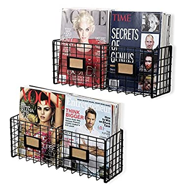 Wall35 Amalfi Metal Wire Baskets - Magazine Racks Organizer Holder - Wall Mounted Storage - Space Saving Design Set of 2 Black