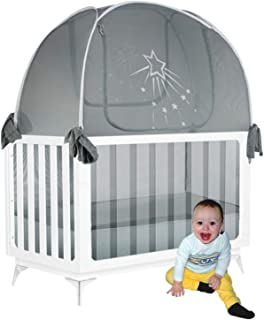 Aussie Cot Net Baby Crib Safety Tent - Silver Star Premium Crib Tent to Keep Baby from Climbing Out - See-Through Silver G...
