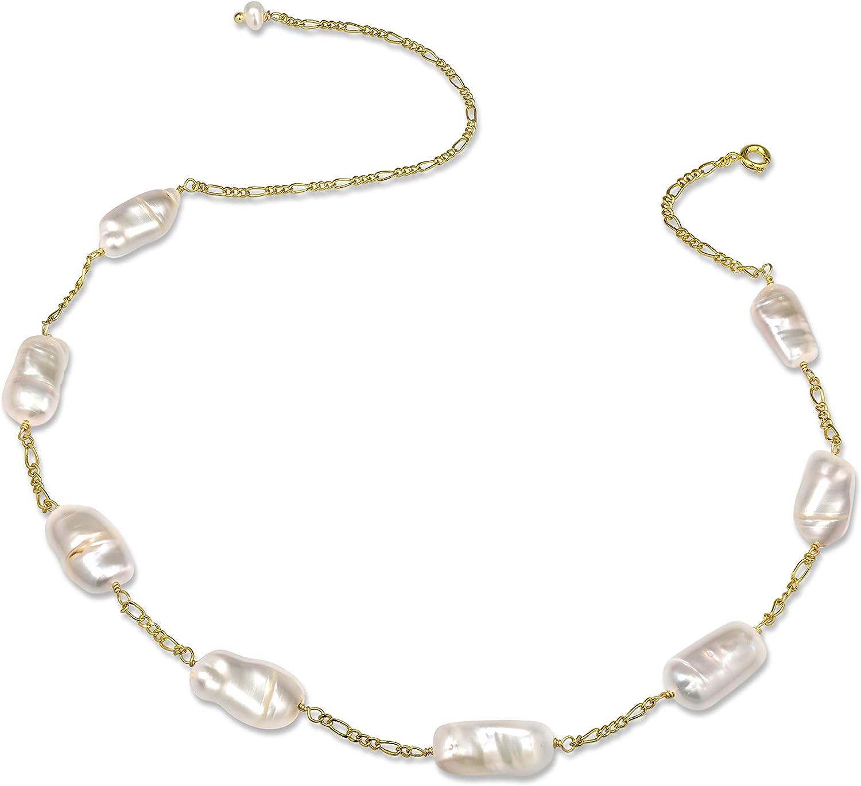 Cowlyn 18K Gold Satellite Choker Necklace Irregular BaroquePearl Link Figaro ChainDainty Handmade Jewelry for Women