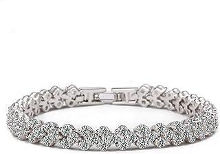 Swarovski Elements White Gold Plated Elegant Glisten Diamond Bangle Bracelet for Women Ladies Girls