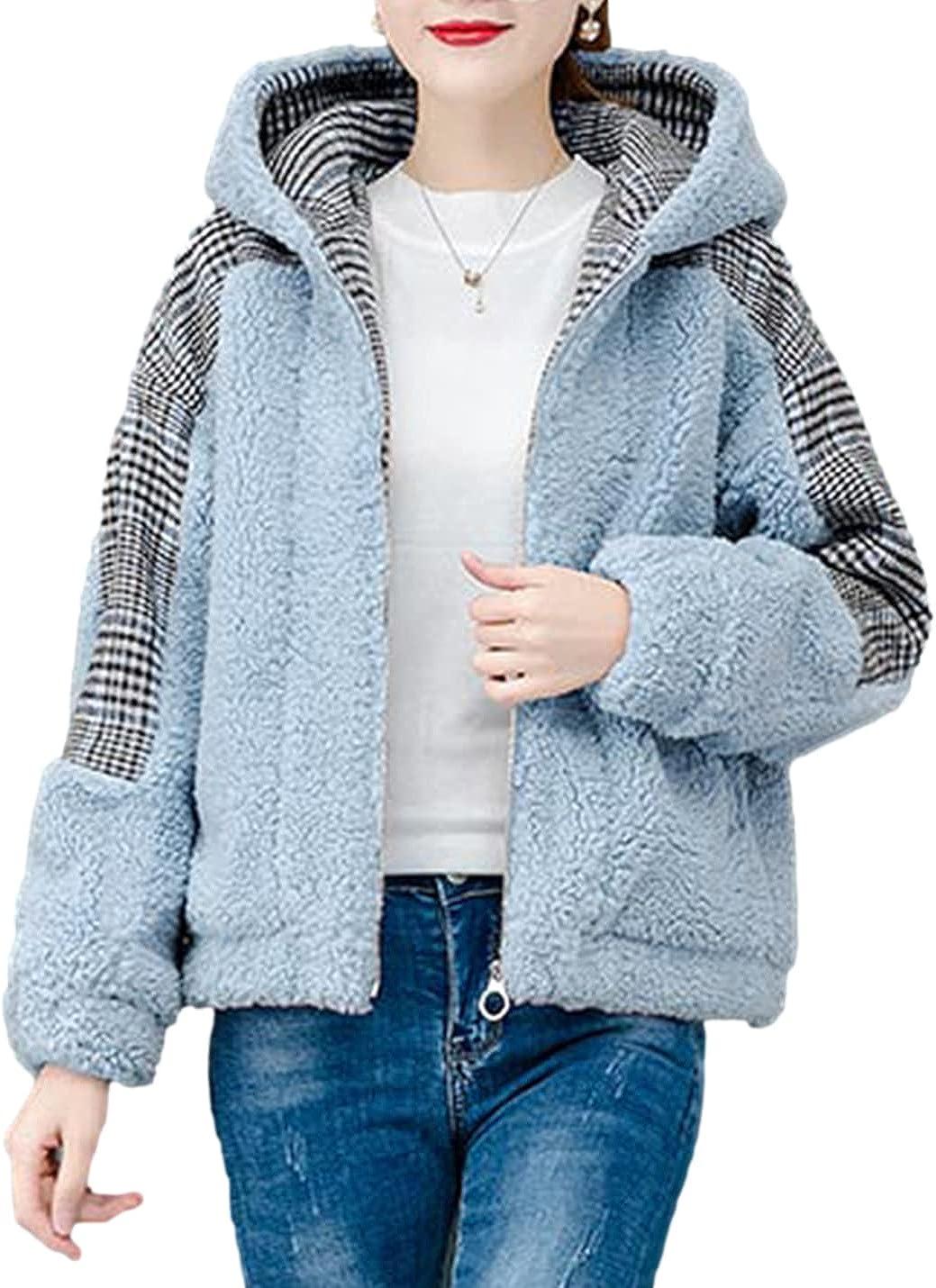 PUWEI Women's Faux Fur Coat Fuzzy Lovely Fleece Shearling Zipper Jacket with Hood