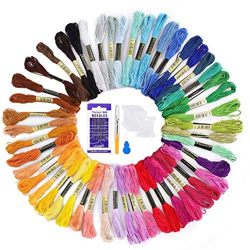 Embroidery Threads 50 Skeins Per Pack,AUERVO Embroidery Floss,Cross Stitch Threads,Friendship Bracelets Floss,Crafts Floss Rainbow Color with Free Embroidery Needles,Floss Bobbins