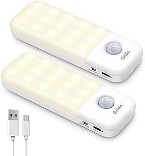 Gritin Motion Sensor Light, [2 szt.] Przyklejane oświetlenie szafki, akumulator USB zasilany 30 diodami LED, wbudowany czu...