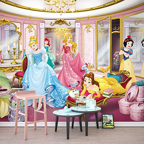 Komar Disney Fototapete | Disney Princess Mirror | Größe: 368 x 254 cm (Breite x Höhe) | Mädchen, Prinzessin, Kinderzimmer, Mädchenzimmer | 8-4108