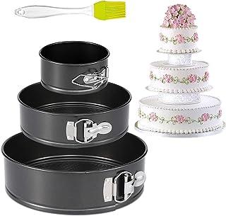 Yesloo Lot de 3 moules à gâteau ronds anti-adhésifs, 4/7/9 pouces anti-fuite avec fond amovible, Noir/métallisé(450°F) (A)