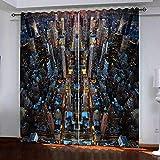 JFAFJ Cortina Opaca Ciudad de Nueva York para Ventana Dormitorio Juveni Habitacion Matrimonio Estilo Moderno Elegante con Ojales 2 Paneles Tamaño:2x117x138cm(An x Al)