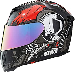 LALEO Personality Full Face Modular Motorcycle Helmet, Grim Reaper Graffiti All Seasons Breathable Keep Warm Adjustable Detachable for Youth Adults Men & Women DOT Approved M-XXL (54-62cm)