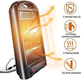LTJX Radiador Halógeno, Calefactores de 2 Barras Calentador Ajustables Calor e Interruptor de Corte de Seguridad Potencia de Dos velocidades 300W/600W