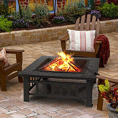 Outdoor fire Pit for Wood,32' Square Metal Firepit Wood Burning Table,Fireplace Garden Stove BBQ Fire Pit Charcoal Rack with Poker & Mesh Cover for Camping Picnic Terrace Patio,32' L x 32' W x 14' H