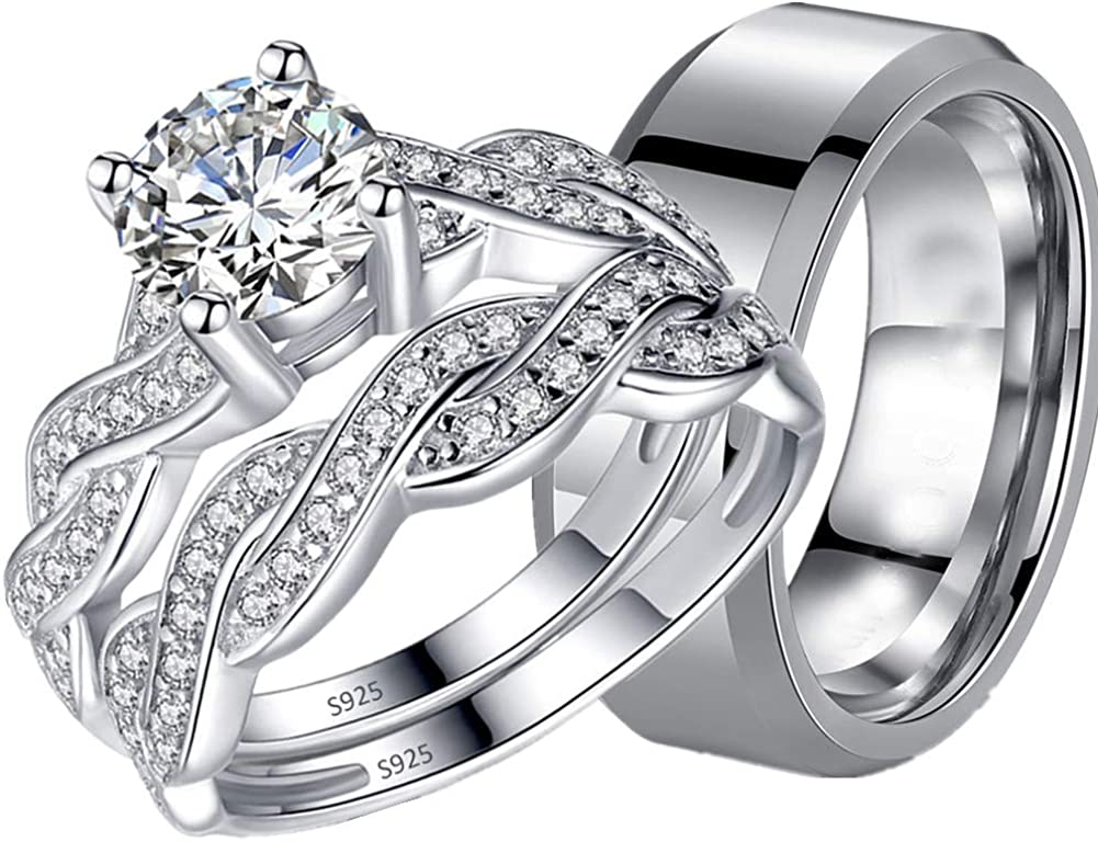MABELLA In a popularity His Hers 3 pcs Men's 5 ☆ very popular Steel Band Women Stainless Infini