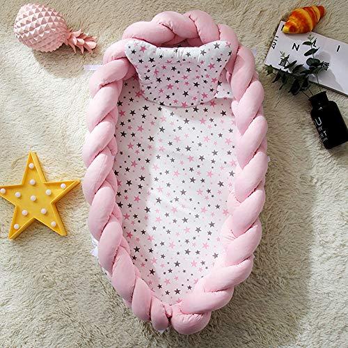 Baby Kissen Bett Nest Baumwolle Baby Stubenwagen Liege Krippen tragbare Kinderbett abnehmbare Cocoon Schlafen Pod,Rosa