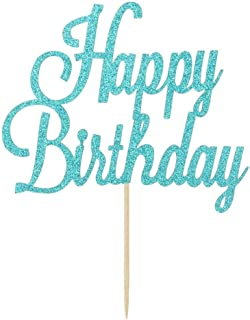 Blue Glitter Happy Birthday Cake Topper, Birthday Party Decorations Supplies