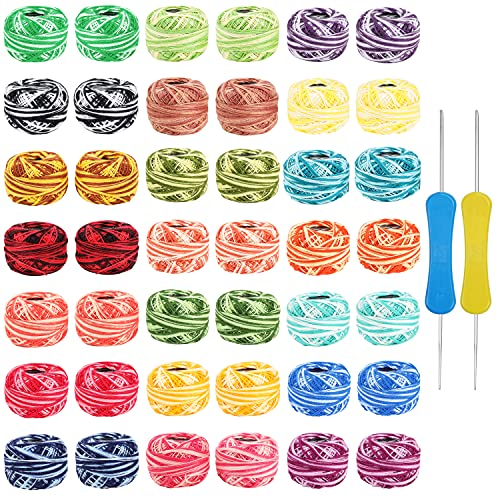 42 Pack Crochet Cotton Yarn Thread by Kurtzy- Stripy Design in An Assortment of Colors - Threads for Patterns, Projects and Applique - 5 Grams - 47.5 Yards of Thread Material