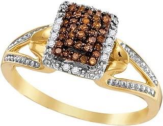 Brandy Diamond Chocolate Brown 10k Yellow Gold Beautiful Raised Ring 1/6 Ctw.