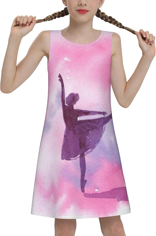 YhrYUGFgf Ballet Sleeveless Dress for Girls Casual Printed Vest Skirt