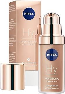 NIVEA PROFESSIONAL Ácido hialurónico, base de maquillaje profesional, 70W, pieles oscuras, maquillaje antiedad para reducir las arrugas, base para maquillaje con triple efecto antiedad, 1 x 30 ml
