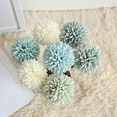 CQURE Artificial Flowers, Fake Flowers Silk Plastic Artificial Hydrangea 6 Heads Bridal Wedding Bouquet for Home Garden Party