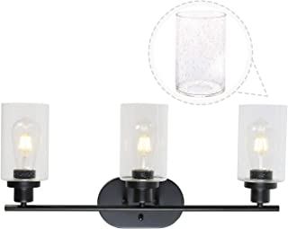 TODOLUZ Black Bath Interior Lighting Wall Light Fixture 3 Bulbs with Seedy Glass Shades