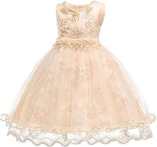 KINDOYO Newborn Baby Girls Sleeveless Dresses - Kids Applique Christening Princess Wedding Tulle Dress Fancy up Ball Gown, Gold, 12M