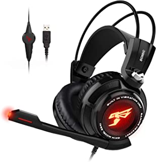 SOMIC SOMIC G941 Gaming Headset For PS4, PC and Laptop, 7.1 Virtual Surround Sound USB Lightweight Over Ear Headphone with...