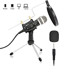 Condenser Microphone,NASUM 3.5mm Recording Microphone Plug and Play,Computer Microphone with Filter Suitable for Voice Recording,Podcasting,Skype,YouTube,Games,Google Voice Search