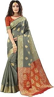 Grey Indian Ethnic Traditional Fashin Soft Silk Sari With Blouse Piece Formal Festive Wear 6052