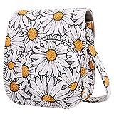Tasche für Fujifilm Instax Mini 11 Mini 9 Mini 8+ Mini 8 Sofortbildkamera,Weichem PU Leder Schutzhülle mit Verstellbarem Schultergurt & Zubehörtasche (Weißes Gänseblümchen)
