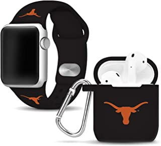 Affinity Bands Texas Longhorns Silicone Watch Band and Case Cover Combo Compatible with Apple Watch and AirPod Case