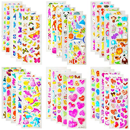 Kids Stickers (1200 +),Stickers for Kids, Kids Scrapbooking, 40 Different Sheets, Random Including Cute Fish and Animals,Butterflies, Cars, Airplane, Letters, Numbers and More(40 Pack)