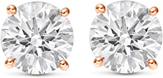 1/2-2 Carat Total Weight Round Diamond Stud Earrings 4 Prong Push Back (H-I Color I2 Clarity)
