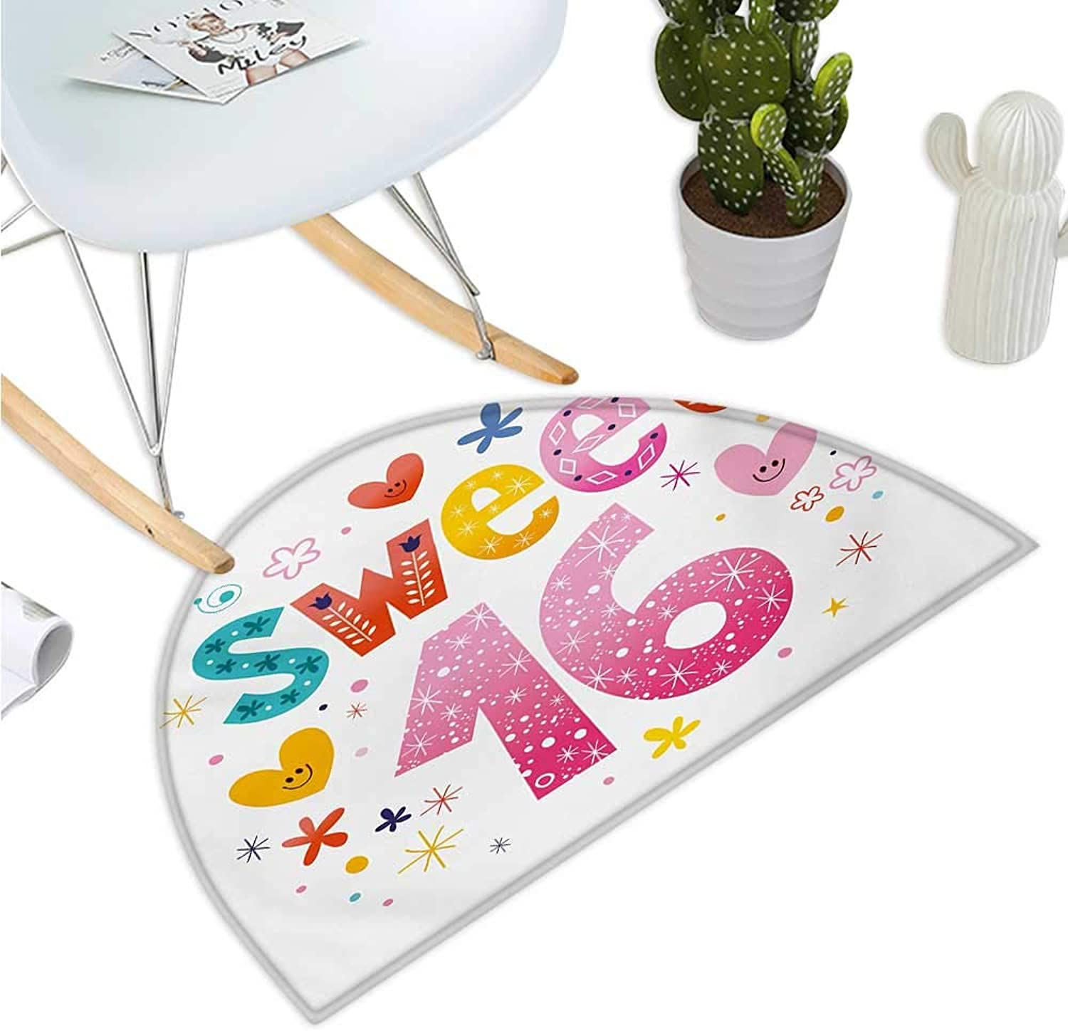 16th Birthday Semicircular Cushion Cute Sweet Sixteen Hearts Stars and Flowers Unique Girls Joyous Fun Design Entry Door Mat H 43.3  xD 64.9  Multicolor