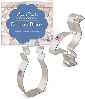 Ann Clark Cookie Cutters 2-Piece Tropical Cookie Cutter Set with Recipe Booklet, Flamingo and Pineapple