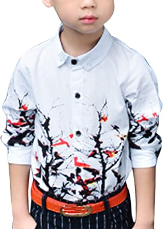 Niños Camisa Formal con Manga Larga Camisa Fiesta Floral ...