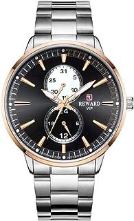 Relojes para Hombre Cronógrafo de Acero Inoxidable 30M Reloj de Cuero para Hombre Deportivo de Moda a Prueba de Agua Cronó...