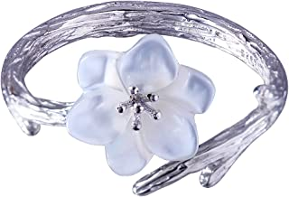 Jewever 925 Sterling Silver Original Sakura Open Tail Ring Adjustable Carving Flower for Women Jewelry Gift