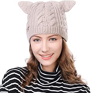 Cat Ear Wool Beanies for Women Girl Winter Kint Skull Hat