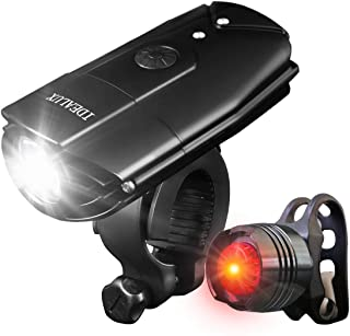 IDEALUX LED Bicycle Lights - 1000 Lumens Super Bright LED Front and Back Rear Lights - USB Rechargeable Bike Light Set - IP65 Waterproof, Headlight and Taillight Bicycle Flashlight for Safe Cycling