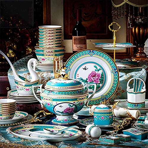 L&B-MR Vajilla Conjunto de vajones de Lujo de 84 PCS para 10, China Royal Palace Set de Cena de Gama Alta Esmalte de Esmalte Placas, tazones y ollas para Banquetes, Bodas, Vida Diaria