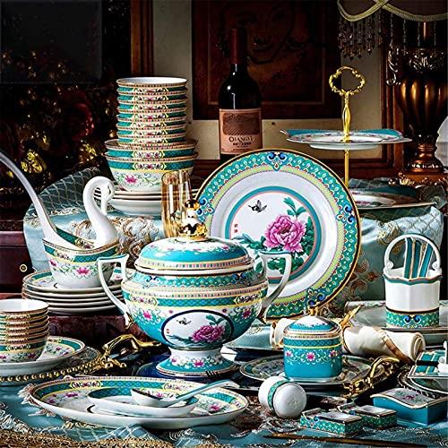 Juego de Platos, Conjunto de vajones de Lujo de 84 PCS para 10, China Royal Palace Set de Cena de Gama Alta Esmalte de Esmalte Placas, tazones y ollas para Banquetes, Bodas, Vida Diaria, Euro Ceramic