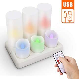 LED Rechargeable Tea Lights Candles, Set of 6, Color Changing LED Candles Tealights with Holders for Outdoor Halloween Pumpkin Light Christmas Decorations (Multi-Colored+Holder)